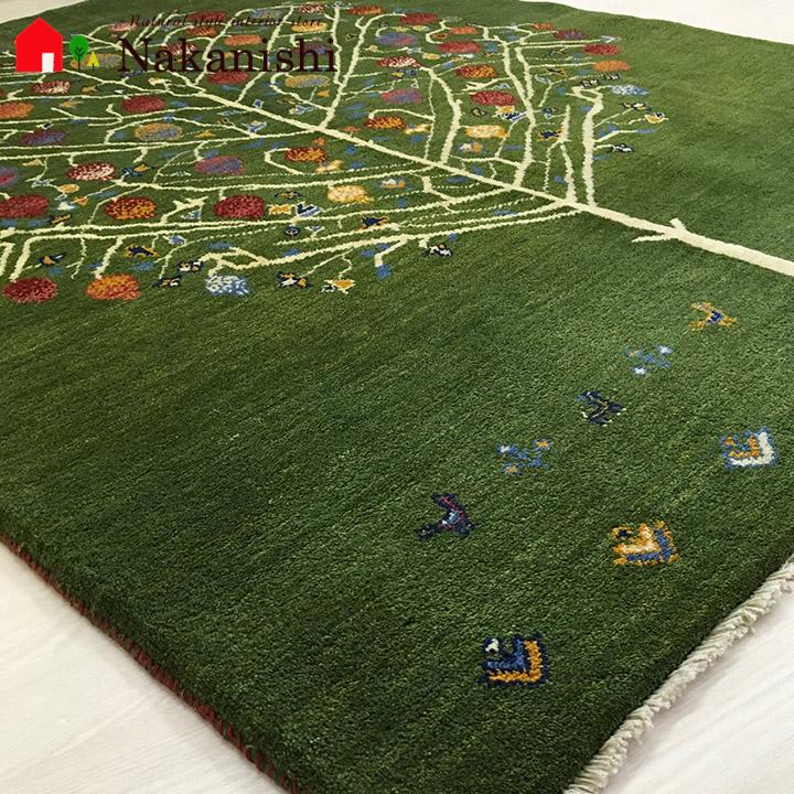 【ギャッベラグ 約1.5畳 約149×197cm はな(360)】GABBEH・ギャッペ(ギャべ)・イラン製・カーペット・ラグ・絨毯(じゅうたん)・グリーン系・生命の木・ざくろ