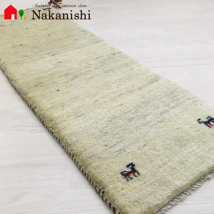 【ギャッベ ランナー 約41×119cm Natural gabbeh part 21】GABBEH ギャッベ(ギャベ)・イラン製・ロング・ランナー・キッチンマット・絨毯(じゅうたん)・カーペット・ラグ・ナチュラル・アイボリー
