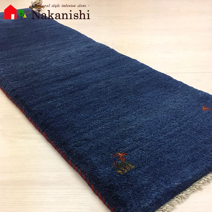 【ギャッベ ランナー 約40×125cm Plain blue 1】GABBEH ギャッベ(ギャベ)・イラン製・ロング・ランナー・キッチンマット・絨毯(じゅうたん)・カーペット・ラグ・ブルー
