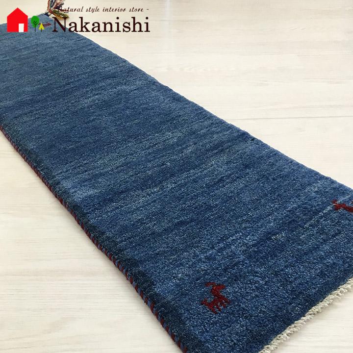 【ギャッベ ランナー 約40×125cm Plain blue 2】GABBEH ギャッベ(ギャベ)・イラン製・ロング・ランナー・キッチンマット・絨毯(じゅうたん)・カーペット・ラグ・ブルー