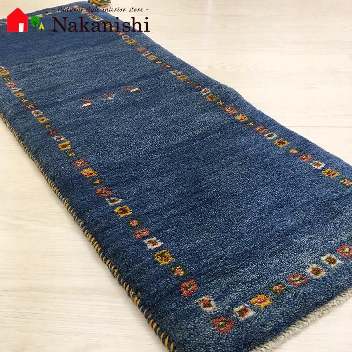 【ギャッベ ランナー 約44×121cm Plain blue 3】GABBEH ギャッベ(ギャベ)・イラン製・ロング・ランナー・キッチンマット・絨毯(じゅうたん)・カーペット・ラグ・ブルー