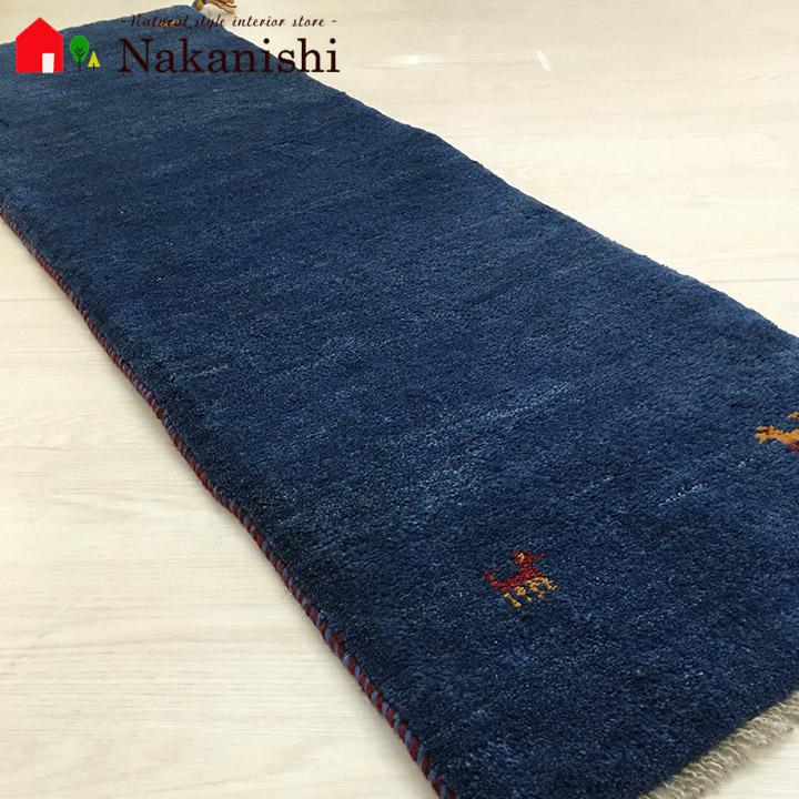 【ギャッベ ランナー 約48×145cm Plain blue 5】GABBEH ギャッベ(ギャベ)・イラン製・ロング・ランナー・キッチンマット・絨毯(じゅうたん)・カーペット・ラグ・ブルー
