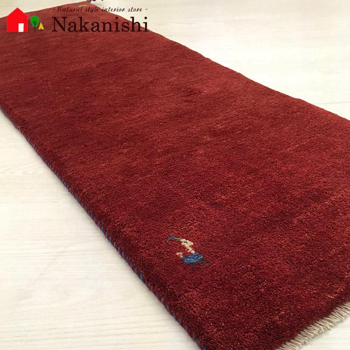 【ギャッベ ランナー 約40×125cm Plain red 1】GABBEH ギャッベ(ギャベ)・イラン製・ロング・ランナー・キッチンマット・絨毯(じゅうたん)・カーペット・ラグ・レッド