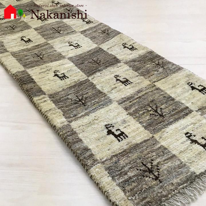 【ギャッベ ランナー 約47×152cm 19939】GABBEH ギャッベ(ギャベ)・イラン製・ロング・ランナー・キッチンマット・絨毯(じゅうたん)・カーペット・ラグ・ナチュラル・ブラウン