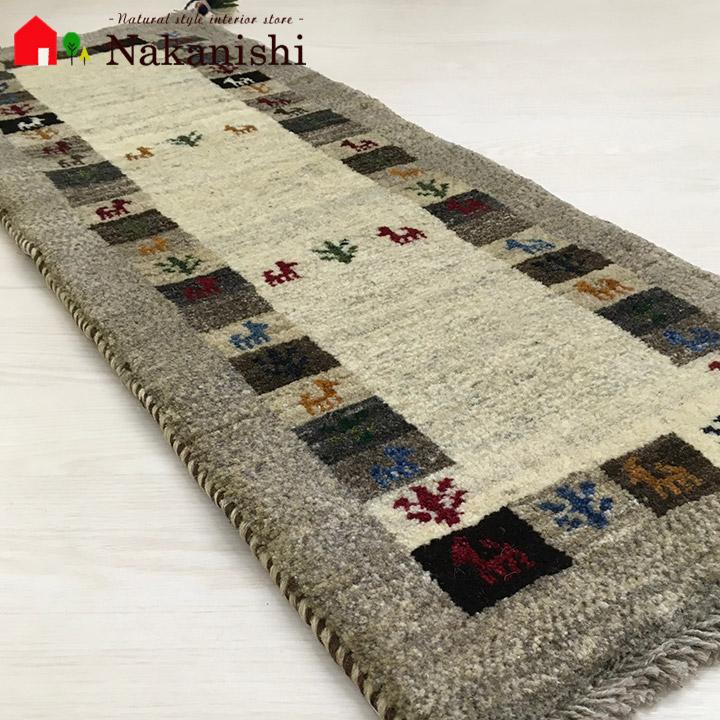 【ギャッベ ランナー 約41×115cm 19808】GABBEH ギャッベ(ギャベ)・イラン製・ロング・ランナー・キッチンマット・絨毯(じゅうたん)・カーペット・ラグ・ブラウン