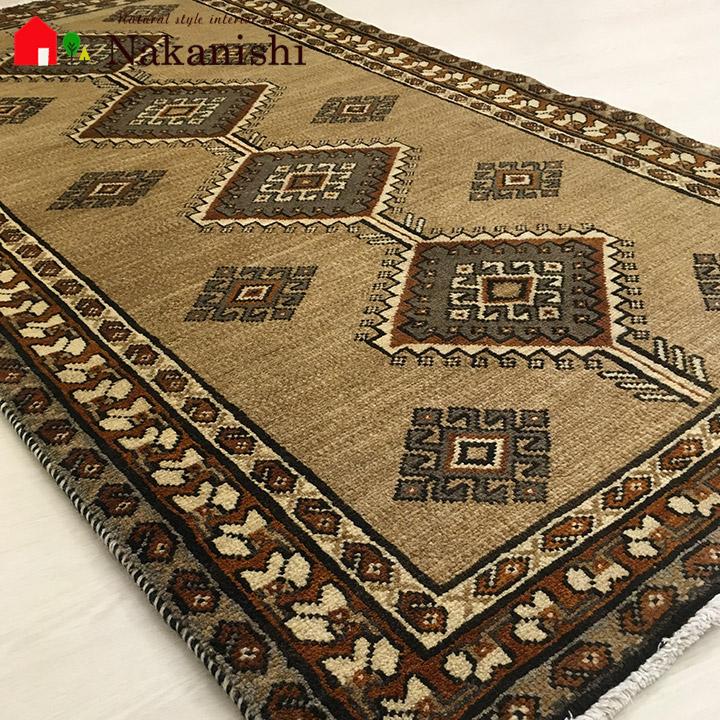【ギャッベラグ 11170 約104×194cm】GABBEH・ギャッペ(ギャべ)・イラン製・カーペット・ラグ・絨毯(じゅうたん)・ベージュ系