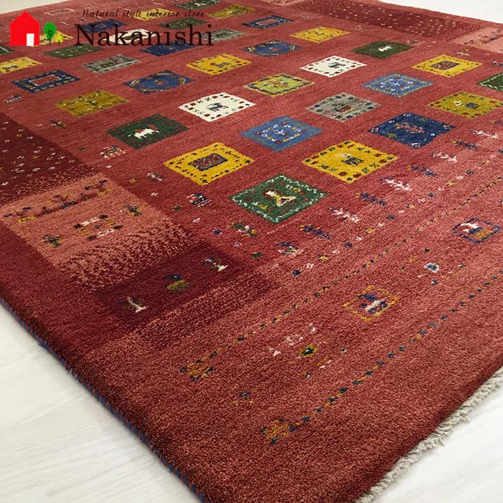 【ギャッベラグ 約1.5畳 約155×194cm 12044】GABBEH・ギャッペ(ギャべ)・イラン製・カーペット・ラグ・絨毯(じゅうたん)・レッド系