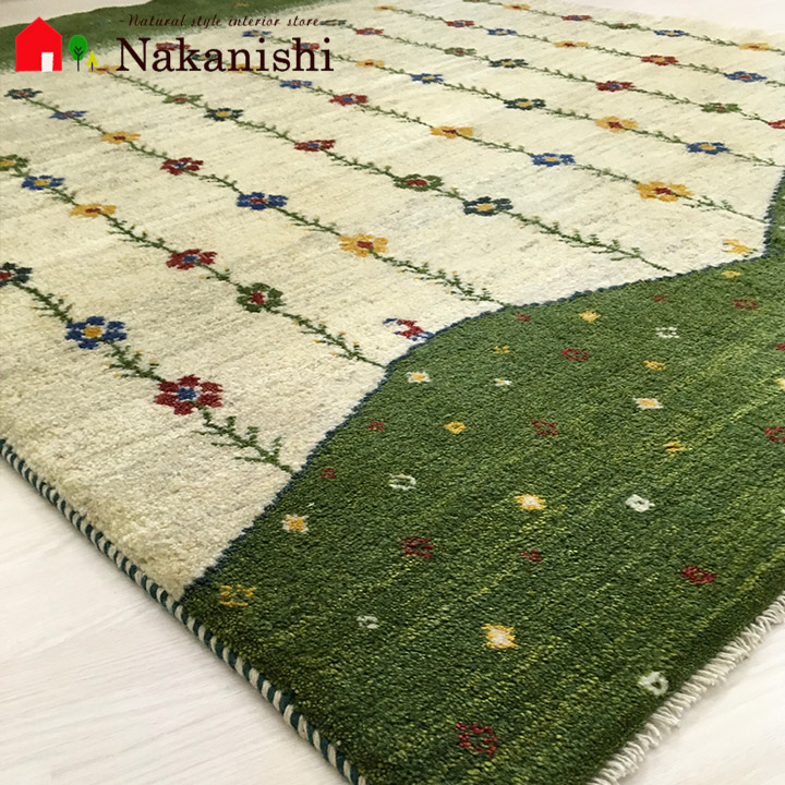 【ギャッベラグ 約1.5畳 約152×196cm 12085】GABBEH・ギャッペ(ギャべ)・イラン製・カーペット・ラグ・絨毯(じゅうたん)・グリーン系