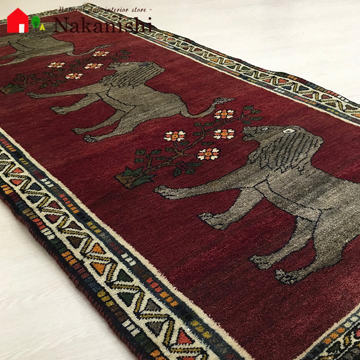 【ギャッベラグ 約87.5×172cm レザー~満たされた日々~(12168)】GABBEH・ギャッペ(ギャべ)・イラン製・カーペット・ラグ・絨毯(じゅうたん)・レッド系・シラーズ・ライオン