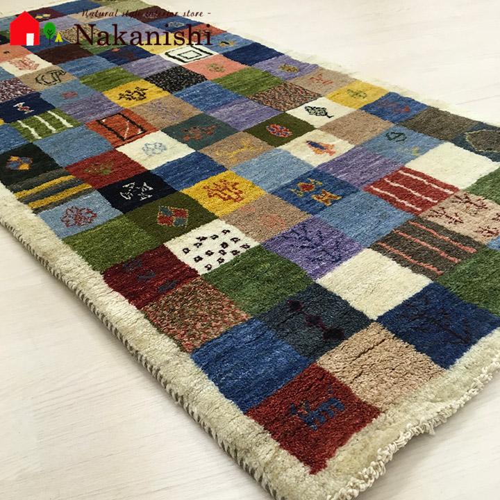 【ギャッベ玄関マット 約76.5×147cm 9177】GABBEH・ギャッペ(ギャべ)・イラン製・カーペット・ラグ・絨毯(じゅうたん)・カラフル