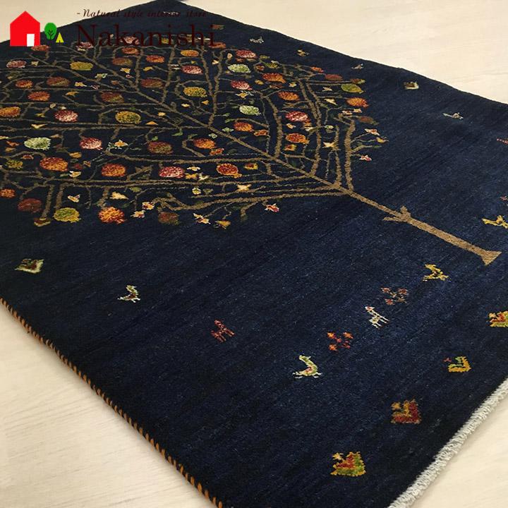 【ギャッベラグ 約99×141cm 13406 ザクロ】GABBEH・ギャッペ(ギャべ)・イラン製・カーペット・ラグ・絨毯(じゅうたん)・ネイビー
