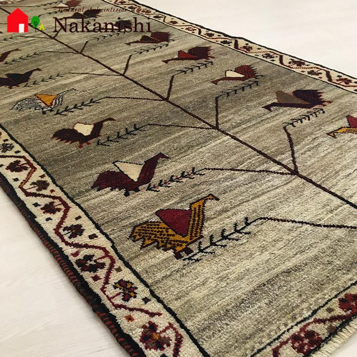 【ギャッベラグ 約87×177cm ピーコック(12471)】GABBEH・ギャッペ(ギャべ)・イラン製・カーペット・ラグ・絨毯(じゅうたん)・ベージュ系