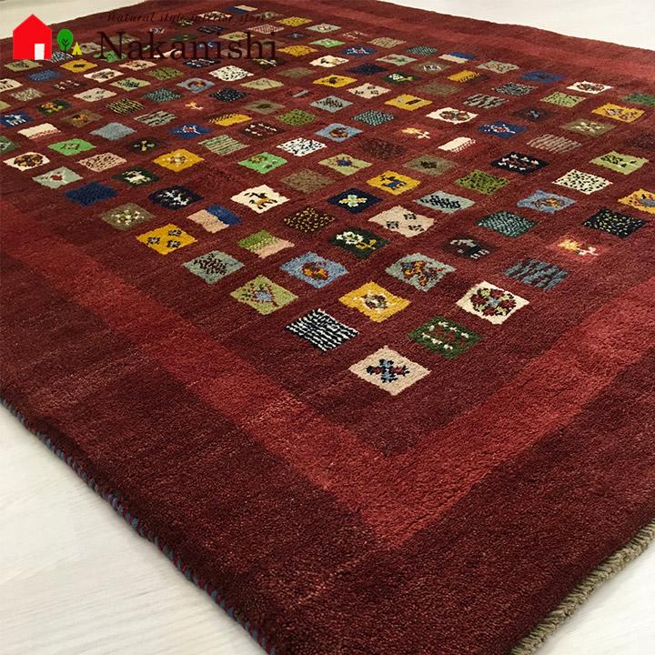 【ギャッベラグ 約1.5畳 約149×195cm BT12490】GABBEH・ギャッペ(ギャべ)・イラン製・カーペット・ラグ・絨毯(じゅうたん)・レッド系・