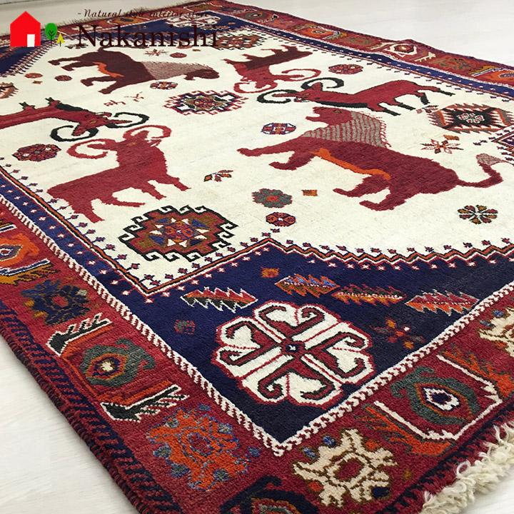 【ギャッベラグ 約126×184cm NT11241】GABBEH・ギャッペ(ギャべ)・イラン製・カーペット・ラグ・絨毯(じゅうたん)・レッド系
