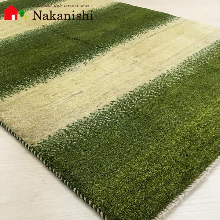 【ギャッベラグ 約96×146cm 13031】GABBEH・ギャッペ(ギャべ)・イラン製・カーペット・ラグ・絨毯(じゅうたん)・グリーン系