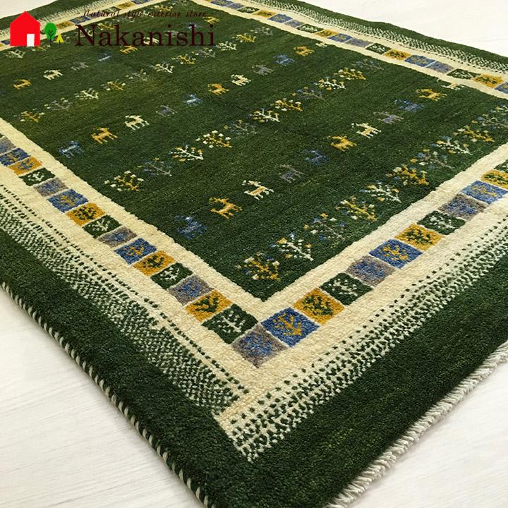 【ギャッベラグ 約101×146cm 14356】GABBEH・ギャッペ(ギャべ)・イラン製・カーペット・ラグ・絨毯(じゅうたん)・グリーン系