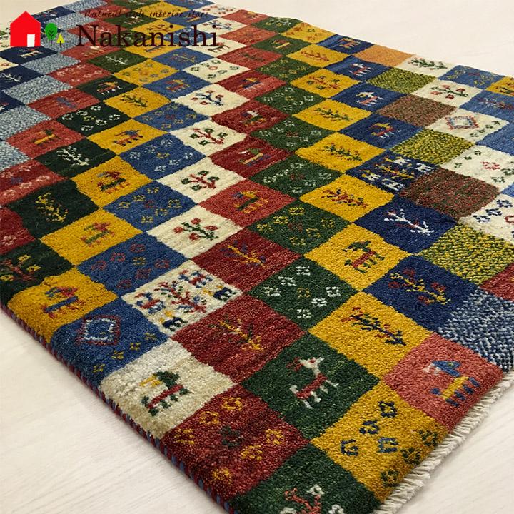 【ギャッベラグ 約98×147cm 13013】GABBEH・ギャッペ(ギャべ)・イラン製・カーペット・ラグ・絨毯(じゅうたん)・カラフル