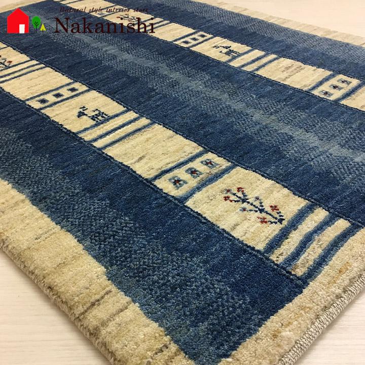【ギャッベラグ 約84×120cm 10239】GABBEH・ギャッペ(ギャべ)・イラン製・カーペット・ラグ・絨毯(じゅうたん)・ブルー系