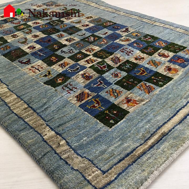 【ギャッベラグ 約85×124cm 10236】GABBEH・ギャッペ(ギャべ)・イラン製・カーペット・ラグ・絨毯(じゅうたん)・ブルー系