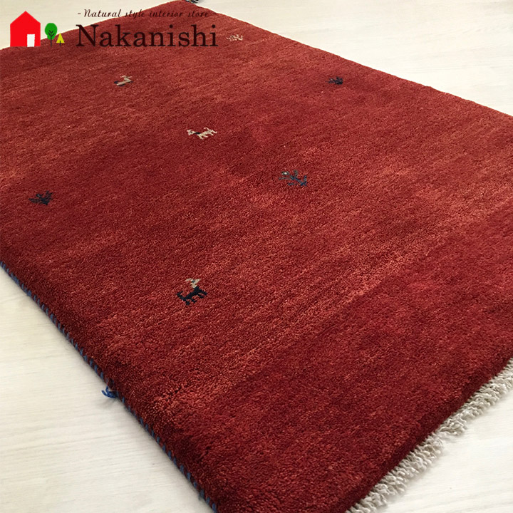 【ギャッベラグ 約77×123cm 27804】GABBEH・ギャッペ(ギャべ)・イラン製・カーペット・ラグ・絨毯(じゅうたん)・レッド系
