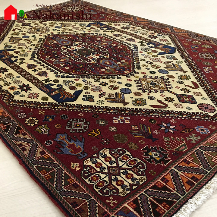 【ペルシャラグ 約102×154cm 13697】GABBEH・ギャッペ(ギャべ)・イラン製・カーペット・ラグ・絨毯(じゅうたん)・レッド系