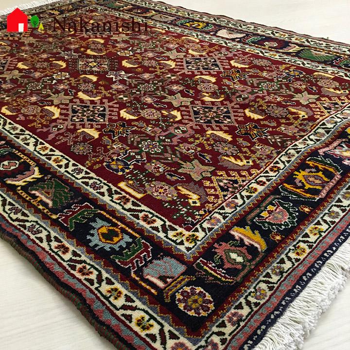 【ギャッベラグ 約105×151cm 10001-1】シラーズ・GABBEH・ギャッペ(ギャべ)・イラン製・カーペット・ラグ・絨毯(じゅうたん)・レッド系
