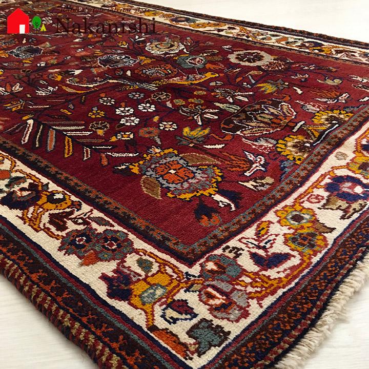 【ギャッベラグ 約115×194cm 12445】シラーズ・GABBEH・ギャッペ(ギャべ)・イラン製・カーペット・ラグ・絨毯(じゅうたん)・レッド系