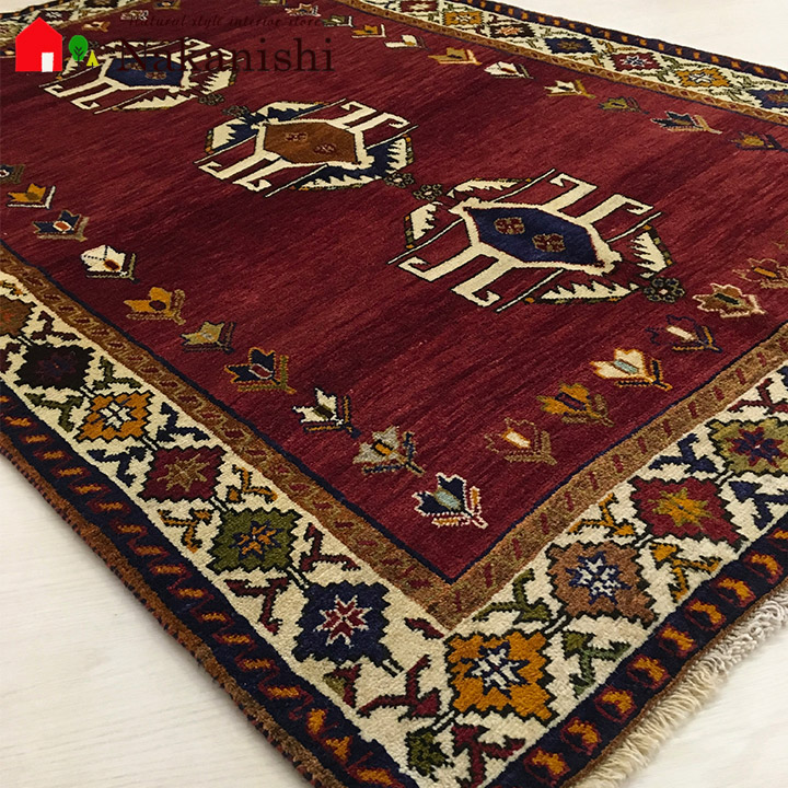 【ギャッベラグ 約117×163cm 12462】シラーズ・GABBEH・ギャッペ(ギャべ)・イラン製・カーペット・ラグ・絨毯(じゅうたん)・レッド系