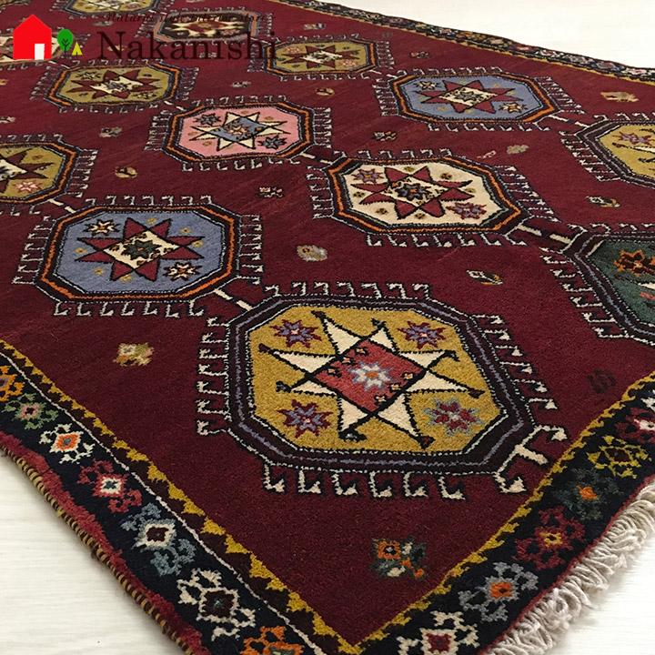 【ギャッベラグ 約95×157cm 11278】シラーズ・GABBEH・ギャッペ(ギャべ)・イラン製・カーペット・ラグ・絨毯(じゅうたん)・レッド系
