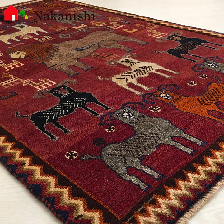 【ギャッベラグ 約95×151cm 12171】GABBEH・ギャッペ(ギャべ)・イラン製・カーペット・ラグ・絨毯(じゅうたん)・レッド系