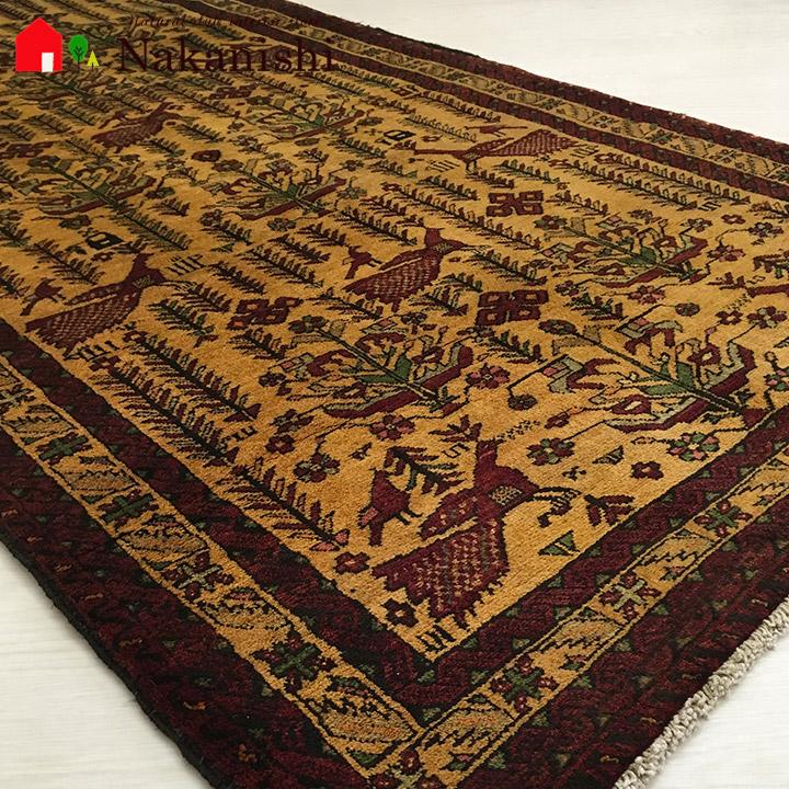 【手織りラグ 約103×196cm 12160】バルーチ・GABBEH・ギャッペ(ギャべ)・イラン製・カーペット・ラグ・絨毯(じゅうたん)・ブラック系