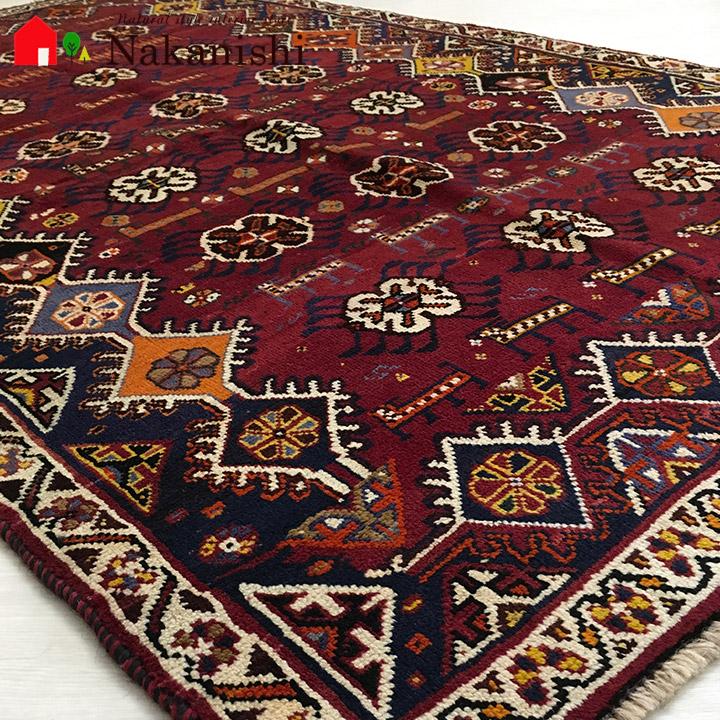 【ギャッベラグ 約112×184cm 12457】GABBEH・ギャッペ(ギャべ)・イラン製・カーペット・ラグ・絨毯(じゅうたん)・レッド系