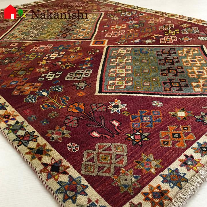 【ギャッベラグ 約130×192cm 11197】シラーズ・GABBEH・ギャッペ(ギャべ)・イラン製・カーペット・ラグ・絨毯(じゅうたん)・レッド系