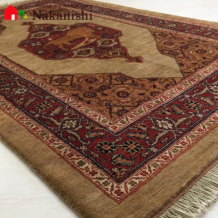 【ギャッベラグ 約115×179cm 13690】カシュガイ族・GABBEH・ギャッペ(ギャべ)・イラン製・カーペット・ラグ・絨毯(じゅうたん)・ベージュ系