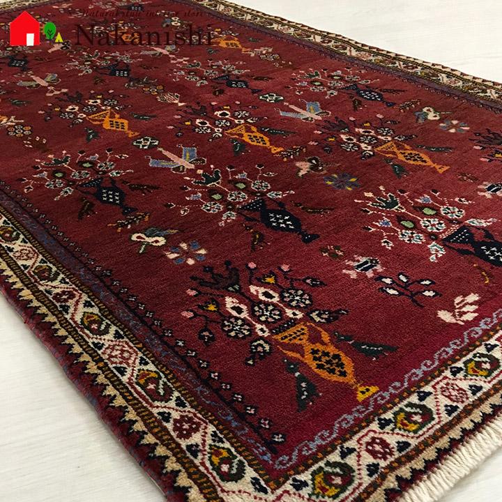 【ギャッベラグ 約81×147cm 12982】シラーズ・GABBEH・ギャッペ(ギャべ)・イラン製・カーペット・ラグ・絨毯(じゅうたん)・レッド系