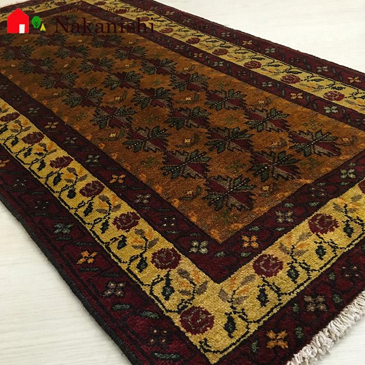 【ギャッベ 玄関マット 約68.5×125cm 10785】バルーチ・GABBEH・ギャッペ(ギャべ)・イラン製・カーペット・ラグ・絨毯(じゅうたん)・レッド系