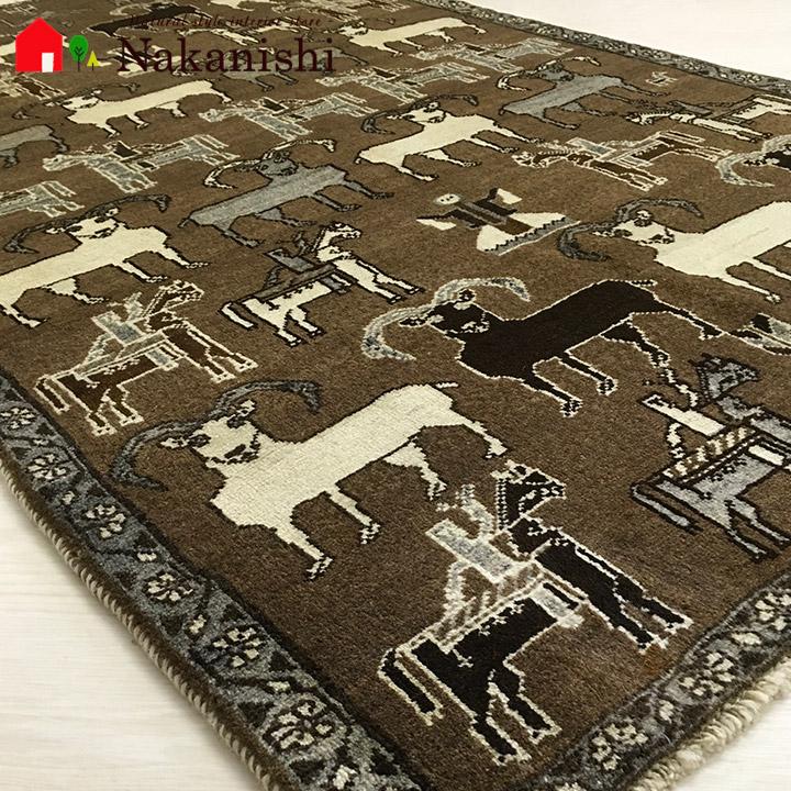【ギャッベラグ 約111×184cm The family of gort(10050)】シラーズ・GABBEH・ギャッペ(ギャべ)・イラン製・カーペット・ラグ・絨毯(じゅうたん)・ブラウン系