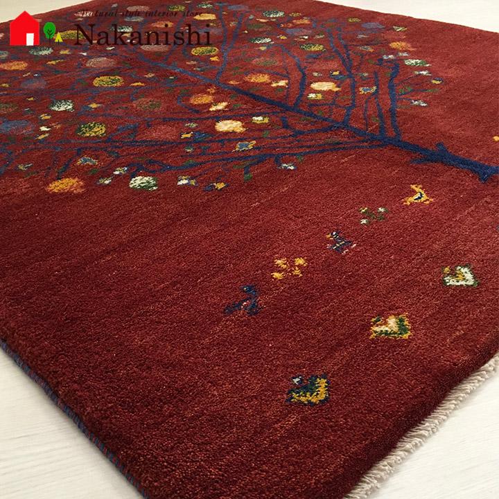 【ギャッベラグ 約151×188cm mature elegance(14185)】シラーズ・GABBEH・ギャッペ(ギャべ)・イラン製・カーペット・ラグ・絨毯(じゅうたん)・レッド系・生命の樹