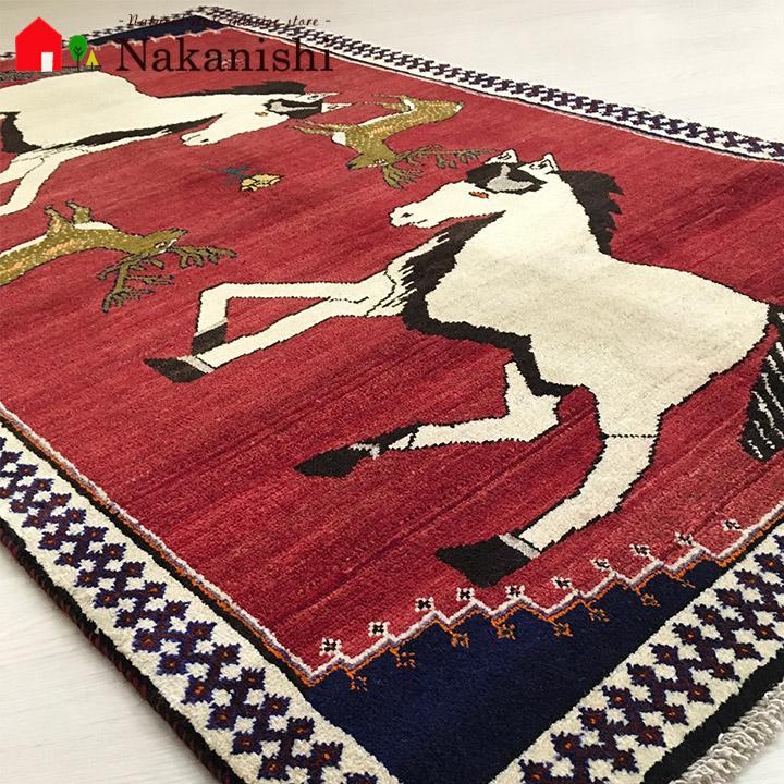【ギャッベラグ 約107×177cm 白馬(12451)】GABBEH・ギャッペ(ギャべ)・イラン製・カーペット・ラグ・絨毯(じゅうたん)・レッド系・馬・鹿