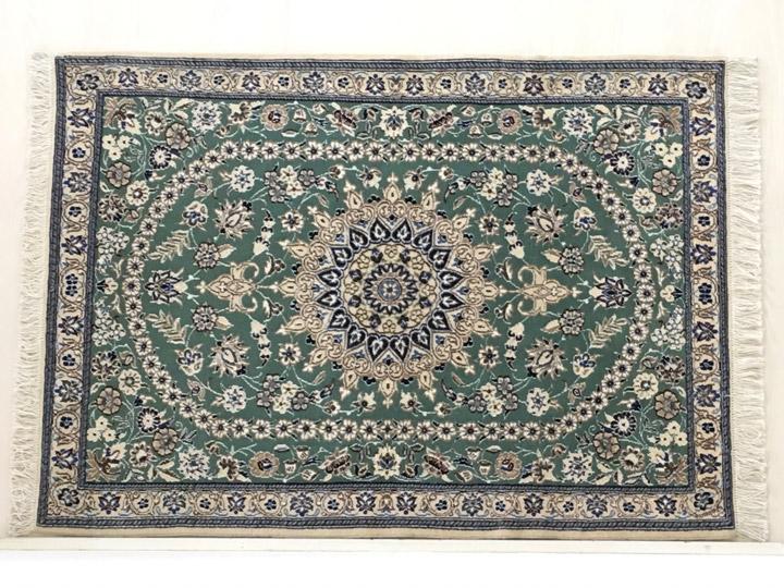 【送料無料】ペルシャ 手織り 玄関マット「翡翠」絨毯(じゅうたん)・カーペット・ラグ・毛(ウール)100%・約70×120cm