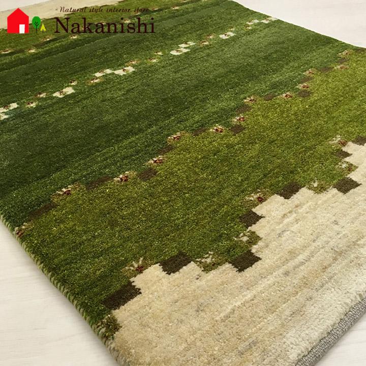 【ギャッベ 玄関マット 約83×115cm BT10232】GABBEH・ギャッペ(ギャべ)・イラン製・玄関マット・カーペット・ラグ・絨毯(じゅうたん)・グリーン系