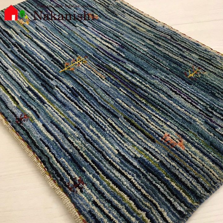 【ギャッベ 玄関マット 約53×81cm BT10324】GABBEH・ギャッペ(ギャべ)・イラン製・玄関マット・カーペット・ラグ・絨毯(じゅうたん)・ブルー系