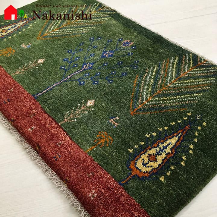 【ギャッベ 玄関マット 約56×89cm BT10325】GABBEH・ギャッペ(ギャべ)・イラン製・玄関マット・カーペット・ラグ・絨毯(じゅうたん)・グリーン系