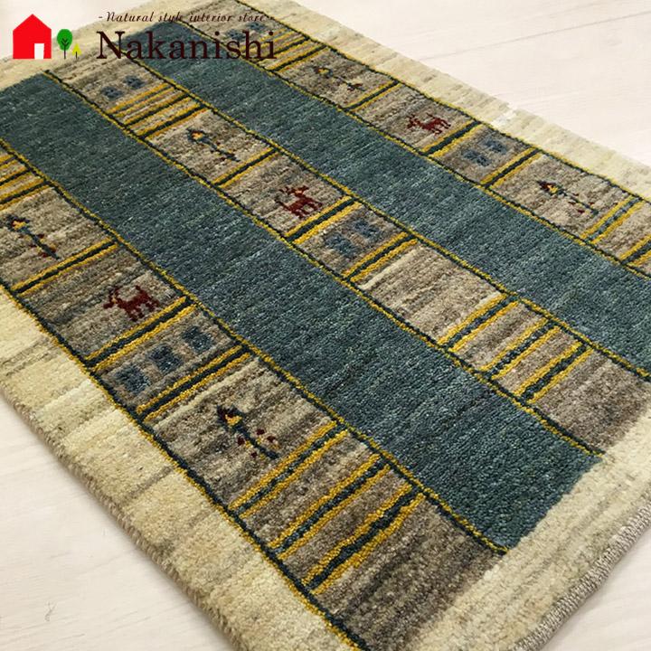 【ギャッベ 玄関マット 約58×86cm BT10268】GABBEH・ギャッペ(ギャべ)・イラン製・玄関マット・カーペット・ラグ・絨毯(じゅうたん)・アイボリー系・グレー系