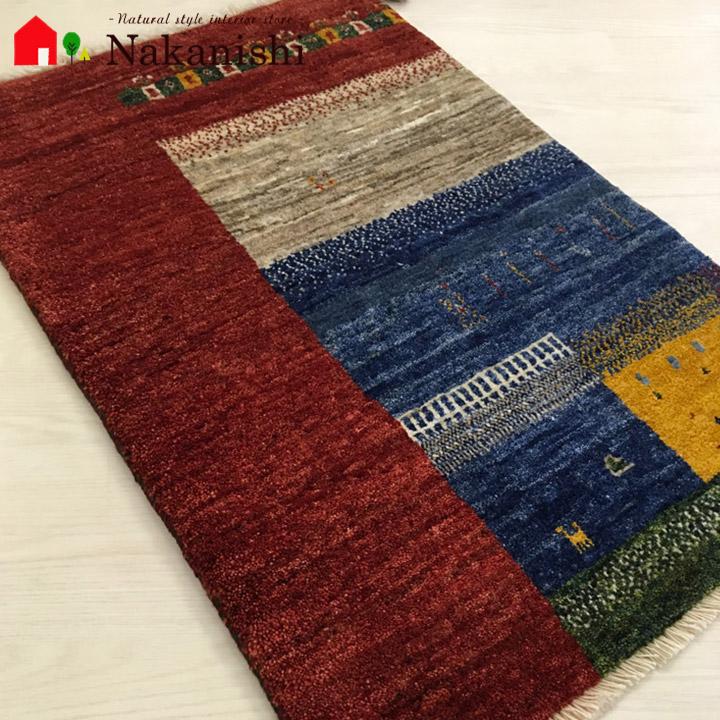 【ギャッベ 玄関マット 約90×61cm ELMO】GABBEH・ギャッペ(ギャべ)・イラン製・玄関マット・カーペット・ラグ・絨毯(じゅうたん)・ナチュラル
