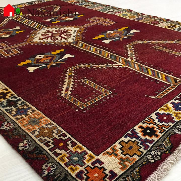 【ギャッベラグ シラーズ N11160 オールド】GABBEH・ギャッペ(ギャべ)・イラン製・カーペット・ラグ・絨毯(じゅうたん)・約115×170cm・レッド系