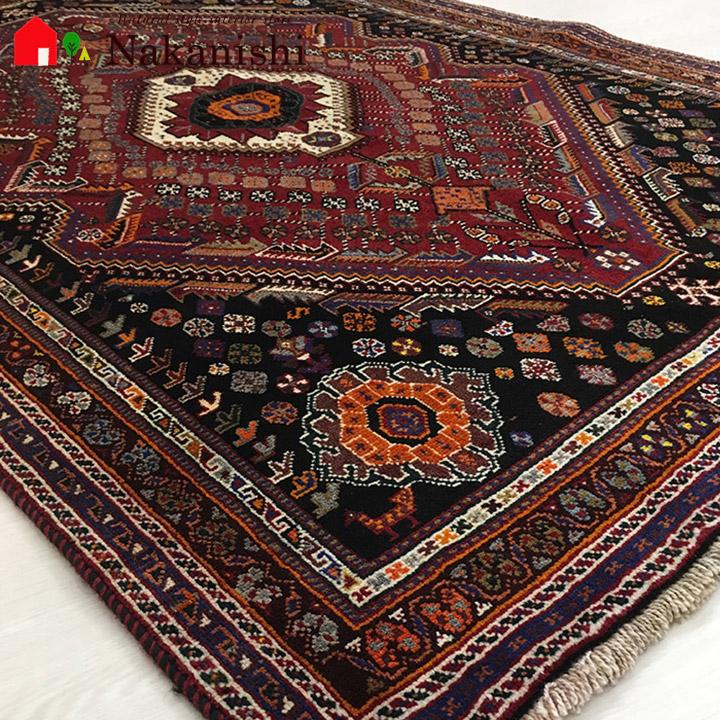 【ギャッベラグ シラーズ NT11015 オールド】GABBEH・ギャッペ(ギャべ)・イラン製・カーペット・ラグ・絨毯(じゅうたん)・約118×177cm・レッド系