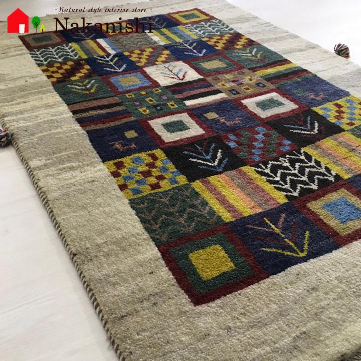 【ギャッベラグ 約1.5畳 みんなの幸せを祈る】GABBEH・ギャッペ(ギャべ)・イラン製・カーペット・ラグ・絨毯(じゅうたん)・約120×185cm・マルチカラー