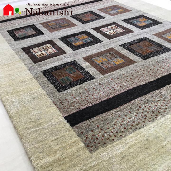 【ギャッベラグ 約3畳 光の街】GABBEH・ギャッペ(ギャべ)・イラン製・カーペット・ラグ・絨毯(じゅうたん)・約169×217cm・ブラウン