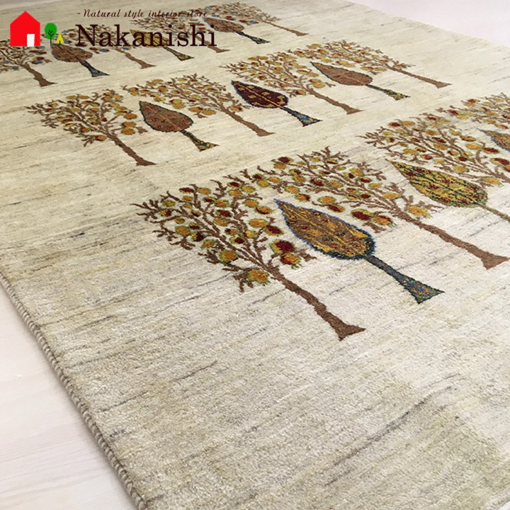 【ギャッベラグ 約3畳 Baccarat】GABBEH・ギャッペ(ギャべ)・イラン製・玄関マット・カーペット・ラグ・絨毯(じゅうたん)・約156×238cm・ナチュラル